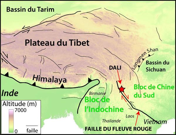 Localisation de Dali (Yunnan, Chine) et contexte géologique