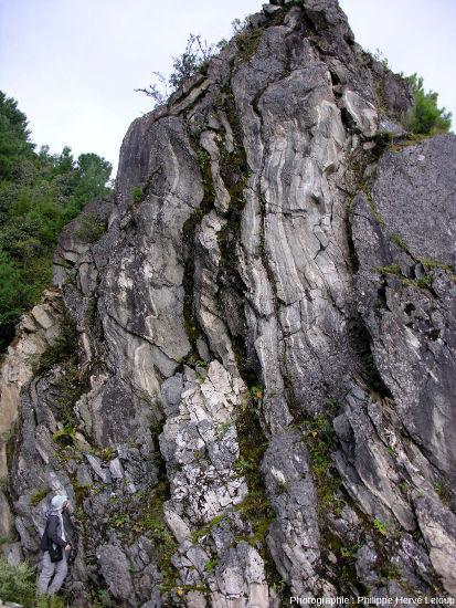 Affleurement de gneiss dans les monts Diancang, au-dessus de Dali (Yunnan, Chine)