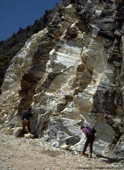Affleurement de marbres Dali, dans les monts Diancang (Yunnan, Chine)