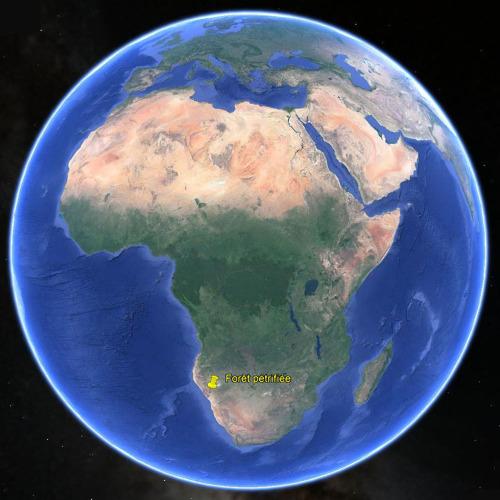 Localisation de la «forêt pétrifiée» du Damaraland en Namibie