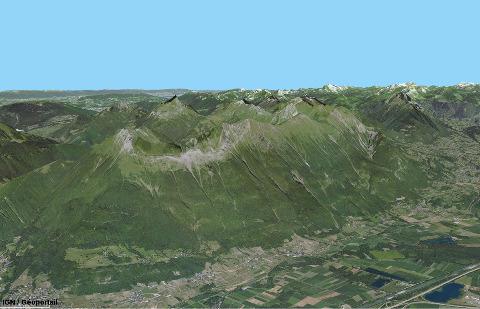 Vue aérienne de la Dent d'Arclusaz