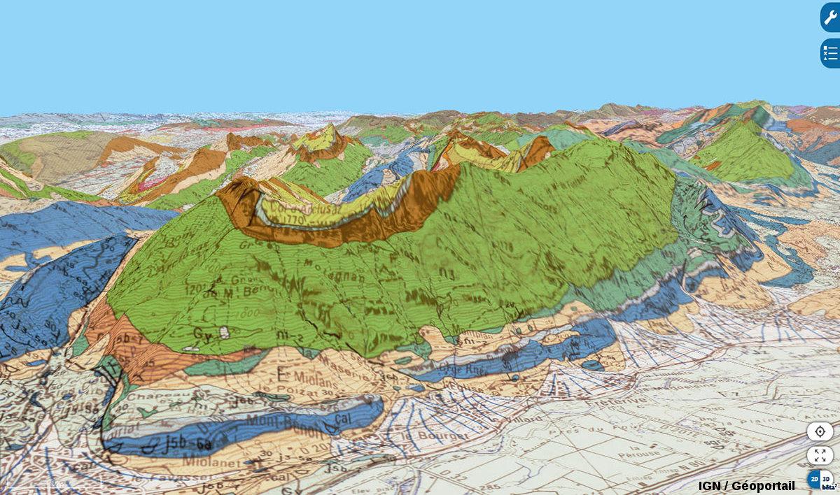 Vue géologique aérienne de la Dent d'Arclusaz