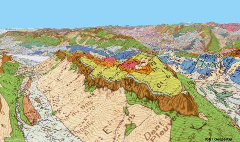 Vue géologique aérienne du Trélod (Haute Savoie), réglée pour couvrir approximativement le même champ et avec la même orientation que la vue d'avion ci-dessus