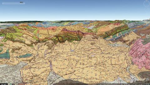 Vue aérienne géologique correspondant à la mosaïque du massif de Platé ci-dessus