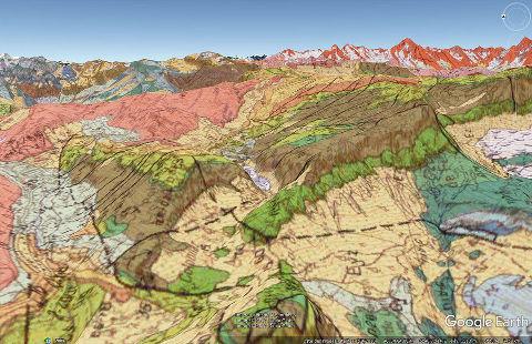 Vue aérienne géologique correspondant au synclinal perché du massif de Platé ci-dessus