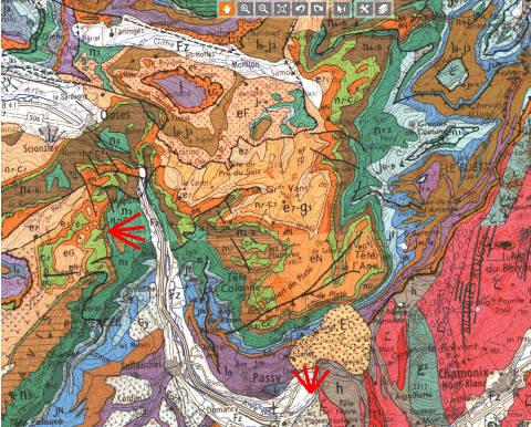 Extrait de la carte géologique au 1/250000 centrée sur le massif de Platé