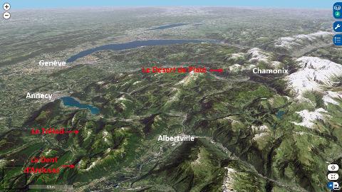 Localisation sur vue aérienne de la Dent d'Arclusaz, du Trélod et du massif de Platé dans les Alpes savoyardes