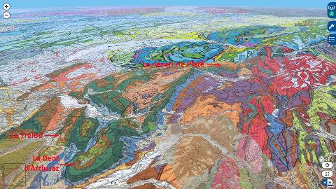 Localisation sur vue aérienne géologique de la Dent d'Arclusaz, du Trélod et du massif de Platé dans les Alpes savoyardes
