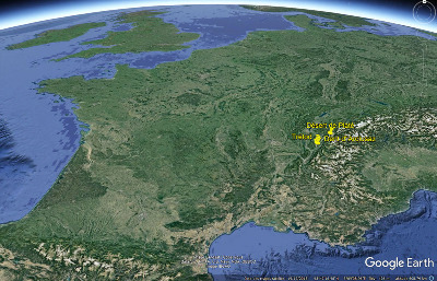 Localisation, en France, de la Dent d'Arclusaz, du Trélod et du massif de Platé