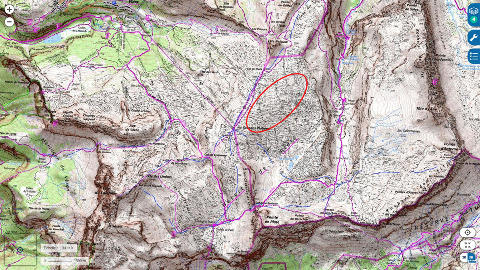 Localisation du secteur du Désert de Platé (ellipse rouge) où ont été prises toutes les photos ci-dessus, sur carte topographique