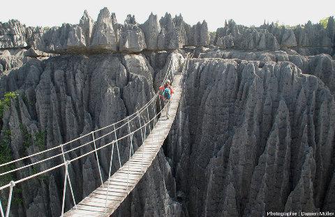 Un sentier a été aménagé dans une petite portion des Tsingy de Bemaraha (Madagascar), avec des échelles, des ponts...