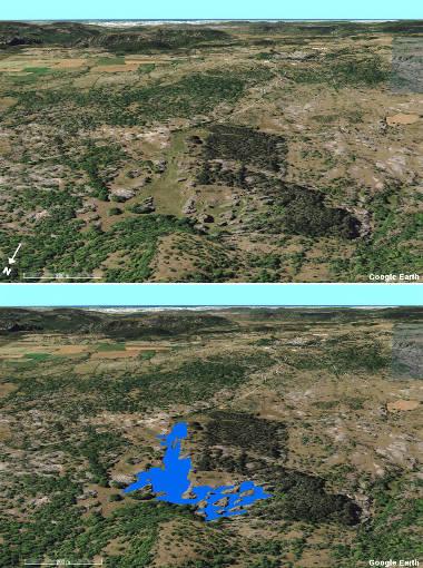 """Montage d'une image """"brute"""" (en haut) et de la même image sur laquelle on a rajouté (approximativement) la position du lac des Rives en situation de hautes eaux (niveau de juin 1978)"""