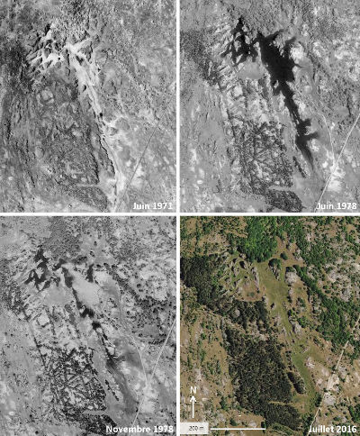 Juxtaposition de 4 photographies aériennes de l'IGN montrant quatre états du petit poljé des Rives en 1971, 1978, et 2016