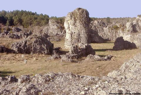 Le même pinacle dolomitique photographié en janvier 1982 pendant une période d'assèchement du lac des Rives