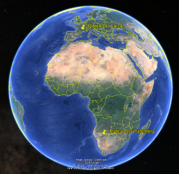 Localisation des plateaux du Waterberg (Namibie) et du Larzac (Aveyron, France)