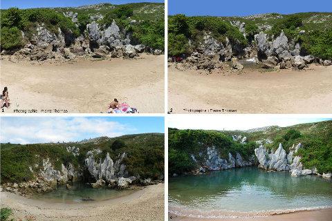 Quatre aspects de la plage intérieure de Gulpiyuri (Espagne), doline envahie par la mer à chaque marée haute