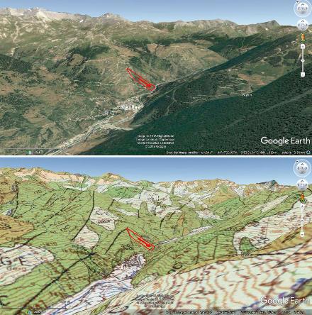 Contexte morphologique et géologique du glissement du Pas de l'Ours (en rouge)