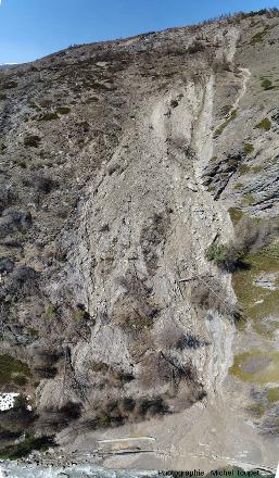 Vue par drone de la partie orientale du glissement du Pas de l'Ours