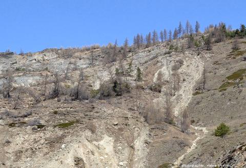 Zoom sur le haut du secteur oriental du glissement du Pas de l'Ours