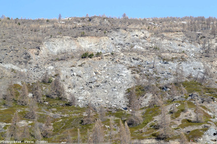 Vue rapprochée sur la zone d'arrachement amont d'où part le glissement de terrain du Pas de l'Ours