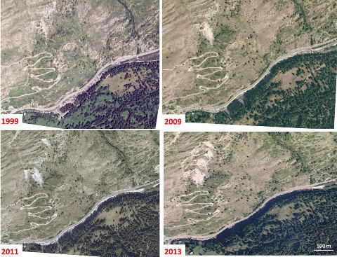 Montage artisanal de 4 photos qui montrent l'évolution des zones sans végétation (éboulis)