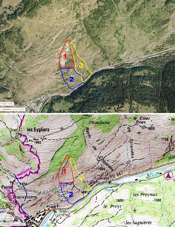Essai sommaire de typologie morphologique des zones affectées par le glissement du Pas de l'Ours du printemps 2018 reporté sur une carte et une photo antérieures au glissement de terrain