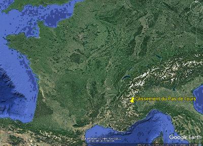 Localisation du glissement de terrain du Pas de l'Ours