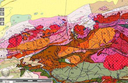 Localisation des filons de pegmatite de Plougoulm (1), Roscoff (2), et de l'ile Millau (3) sur un extrait de la carte géologique de France au 1/1000000