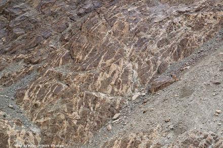 Zoom sur la partie la plus riche en filons de pegmatite de la photo précédente, vallée de l'Indus