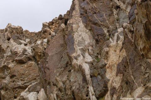 Gros plans sur des filons de pegmatite du même secteur, mais situés sur le bord de la route visible sur la gauche de la figure 14, vallée de l'Indus