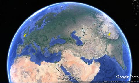 Localisation du Massif Armoricain et de l'Himalaya, chaines de collision (l'une ancienne et l'autre récente) où ont été prises toutes les photos précédentes