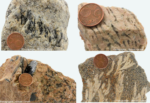 Quatre échantillons de pegmatites non ordinaires
