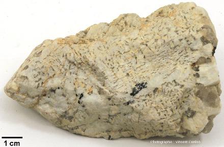 Échantillon de pegmatite graphique ramassé sur une plage de Roscoff (Finistère)