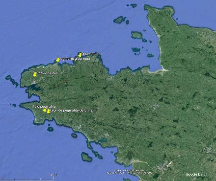 Localisation, en Bretagne, des 5 sites de prélèvement des 6 échantillons présentés cette semaine