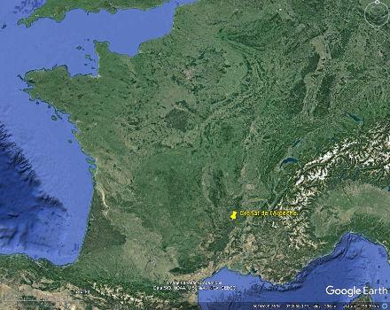 Localisation en France de l'affleurement ardéchois à grenats