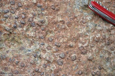 Zoom sur la demie-meule de l'image précédente, géosite minier de Saint-Marcel et Servette (Val d'Aoste)