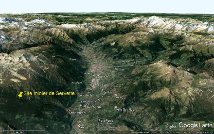Localisation, sur vue aérienne, du site minier de Servette, en amont du vallon de Saint-Marcel, dans le Val d'Aoste (Italie)
