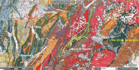 Extrait de la carte géologique d'Annecy au 1/250000 localisant le site minier de Servette, Val d'Aoste (Italie)