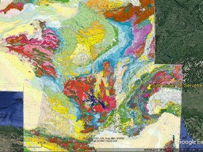 Localisation, sur la carte géologique de France au 1/1000000, du site minier de Servette dans les méta-ophiolites alpines, côté italien