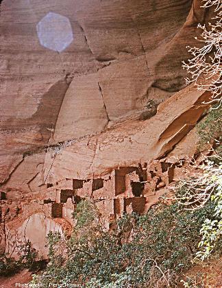 Vue d'ensemble sur l'ancien village amérindien (XIIIème siècle) de Betatakin, Arizona