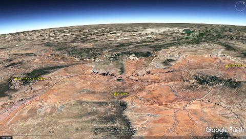 Localisation du Parc national de Canyonlands (Utah), des ruines de Betatakin (Arizona) et du Grand Canyon du Colorado, au centre du plateau du Colorado (USA)