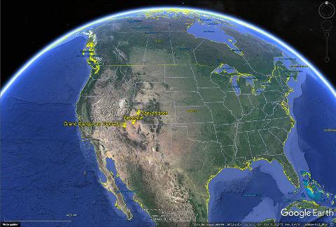 Localisation du Parc national de Canyonlands (Utah), des ruines de Betatakin (Arizona) et du Grand Canyon du Colorado dans l'Ouest des USA