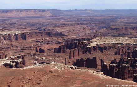 Zoom sur un secteur de Canyonlands National Park qui permet de comprendre comment l'érosion fait reculer une cuesta et peut isoler des reliques, appelées mésas ou buttes témoins selon leur taille