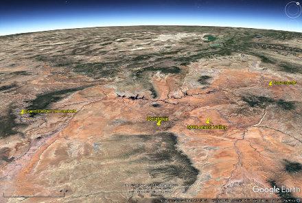Localisant du Grand Canyon, le site le plus célèbre du Plateau du Colorado, de Betatakin, de Canyonlands, et de Monument Valley (USA)
