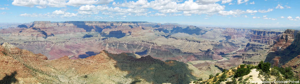 Vue d'ensemble de l'amont du Grand Canyon, 20 km en amont du Grand Canyon South Rim Village, Arizona (USA)