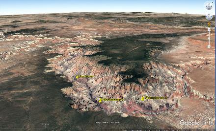 Localisation des trois secteurs où ont été prises les photos précédentes, Grand Canyon du Colorado, Arizona (USA)