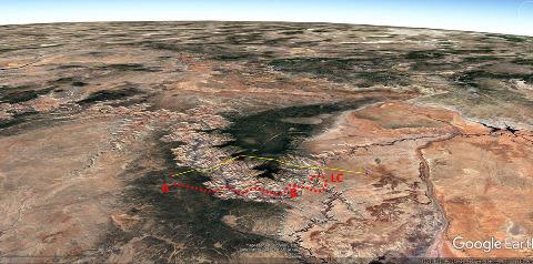 Vue aérienne montrant le trajet approximatif du vol d'où ont été prises les photos de cet article