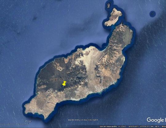 Localisation de la vallée de la Geria dans l'ile de Lanzarote (Canaries)