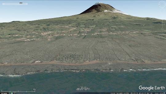 Vue aérienne des vignes du secteur de Criação Velha, classé au Patrimone mondial de l'humanité par l'Unesco, ile de Pico, Açores
