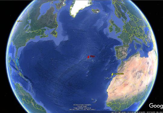 Localisation des iles de Lanzarote et de Pico dans l'Atlantique Nord